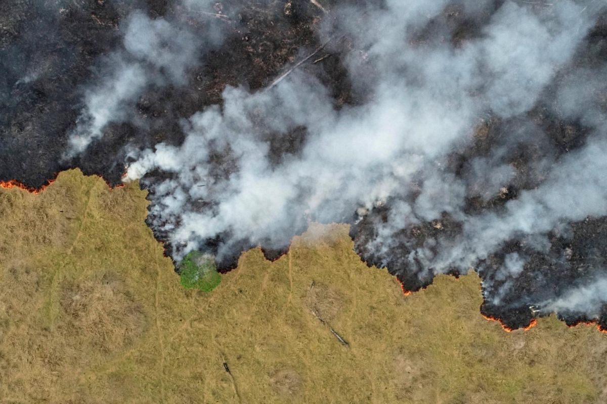 An aerial view of smoke rising over a deforested plot of the Amazon jungle in Porto Velho, in the Rondonia state of Brazil, on Aug 24, 2019.