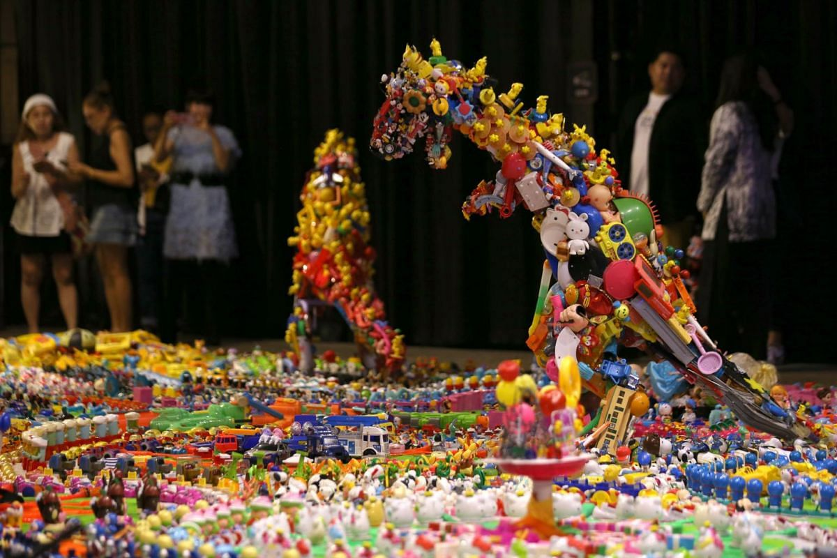 An installation made of discarded plastic toys at the Jurassic Plastic exhibition at ChangChui Creative Park in Bangkok on Aug 26, 2019.