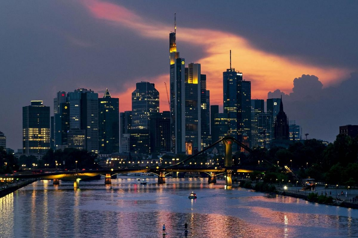 The river Main with the buildings of the banking district in the background in Frankfurt, Germany, on Aug 27, 2019.