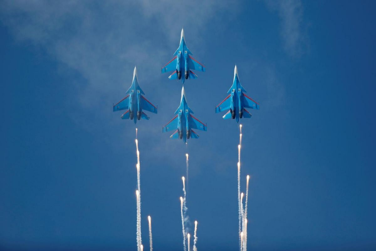 Jets of the Russian Knights aerobatic team perform at an air show to mark the 80th anniversary of the victory in the Battle of Khalkhin Gol, in Ulaanbaatar, Mongolia on Aug 28, 2019.