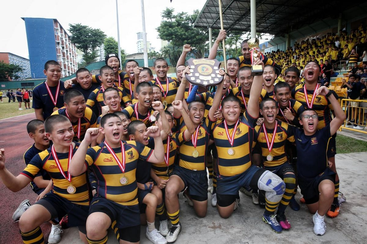 ACS(I) players pose for a photo after defeating St Andrew's in the Boys' C Division rugby finals at Queenstown Stadium on Aug 29, 2019.