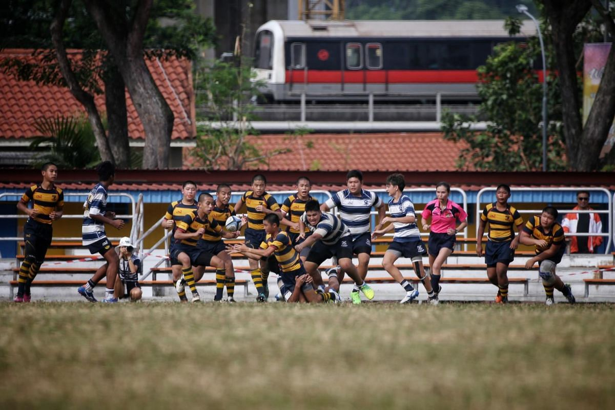 ACS(I) and St Andrew's in action in the Boys' C Division rugby finals at Queenstown Stadium on Aug 29, 2019.