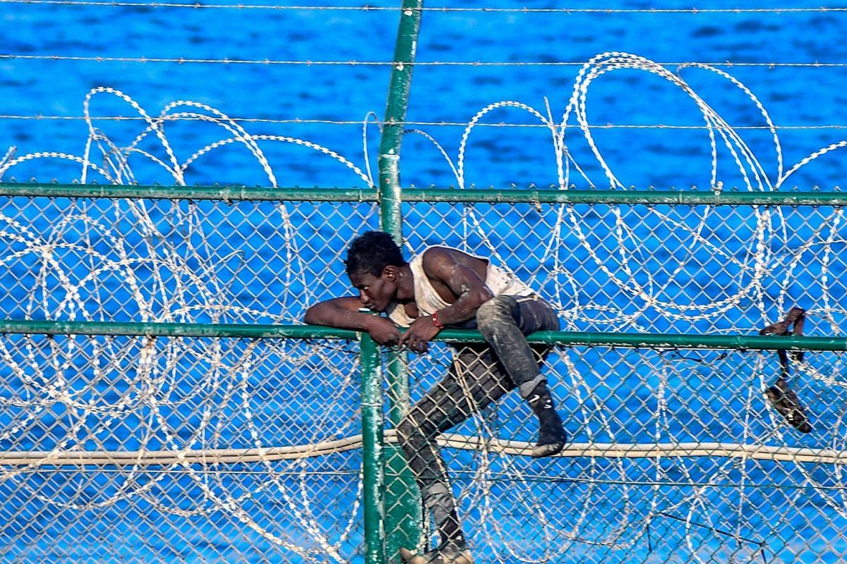A migrant forces his way into the Spanish territory of Ceuta on August 30, 2019. Over 150 migrants made their way into Ceuta after storming a barbed-wire border fence with Morocco. PHOTO: AFP