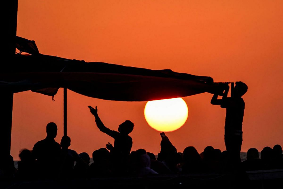 This picture taken on September 1, 2019 shows a view of a Palestinian beach restaurant along the Mediterranean at sunset in Gaza City. PHOTO: AFP
