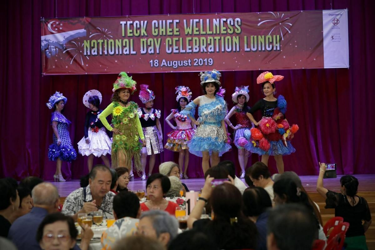 The modelling interest group performs at Teck Ghee Community Club for the Teck Ghee Wellness National Day Celebration Lunch on Aug 18, 2019.