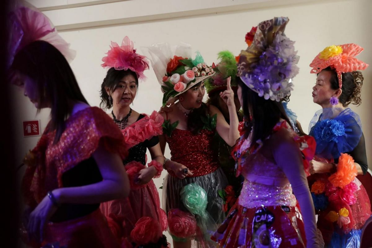 (From left) Madam Tan Lee Yong, Madam Jasmine Chan, Madam Angeline Tan, Madam Yong Kim Yin, Madam Wendy Cheang, and Madam Lily Yap wait backstage for the start of the fashion show.