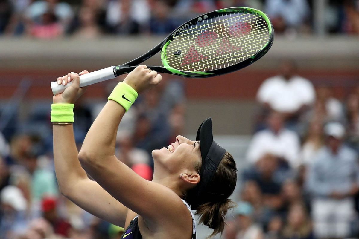 Belinda Bencic of Switzerland celebrates after winning her Women's Singles fourth round match against Naomi Osaka of Japan on day eight of the 2019 US Open at the USTA Billie Jean King National Tennis Center on September 2, 2019 in Queens borough of