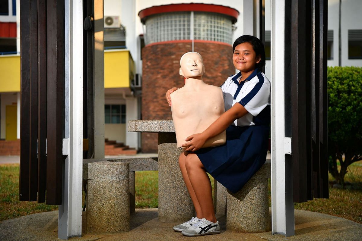 Diniy Qurratuaini's CCA training came in handy to save accident victim, September 5, 2019. The 15-year-old who performed CPR on a woman hit by a bus, which happened in July, will be presented with the Community Lifesaver Award today (Sep 6). PHOTO: T