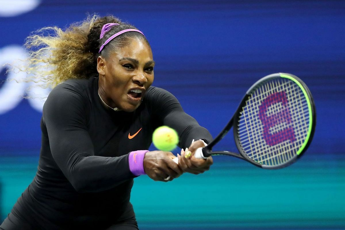 Serena Williams of the United States returns a shot during her Women's Singles semi-final match against Elina Svitolina of the Ukraine on day eleven of the 2019 US Open at the USTA Billie Jean King National Tennis Center on September 5, 2019 in the Q