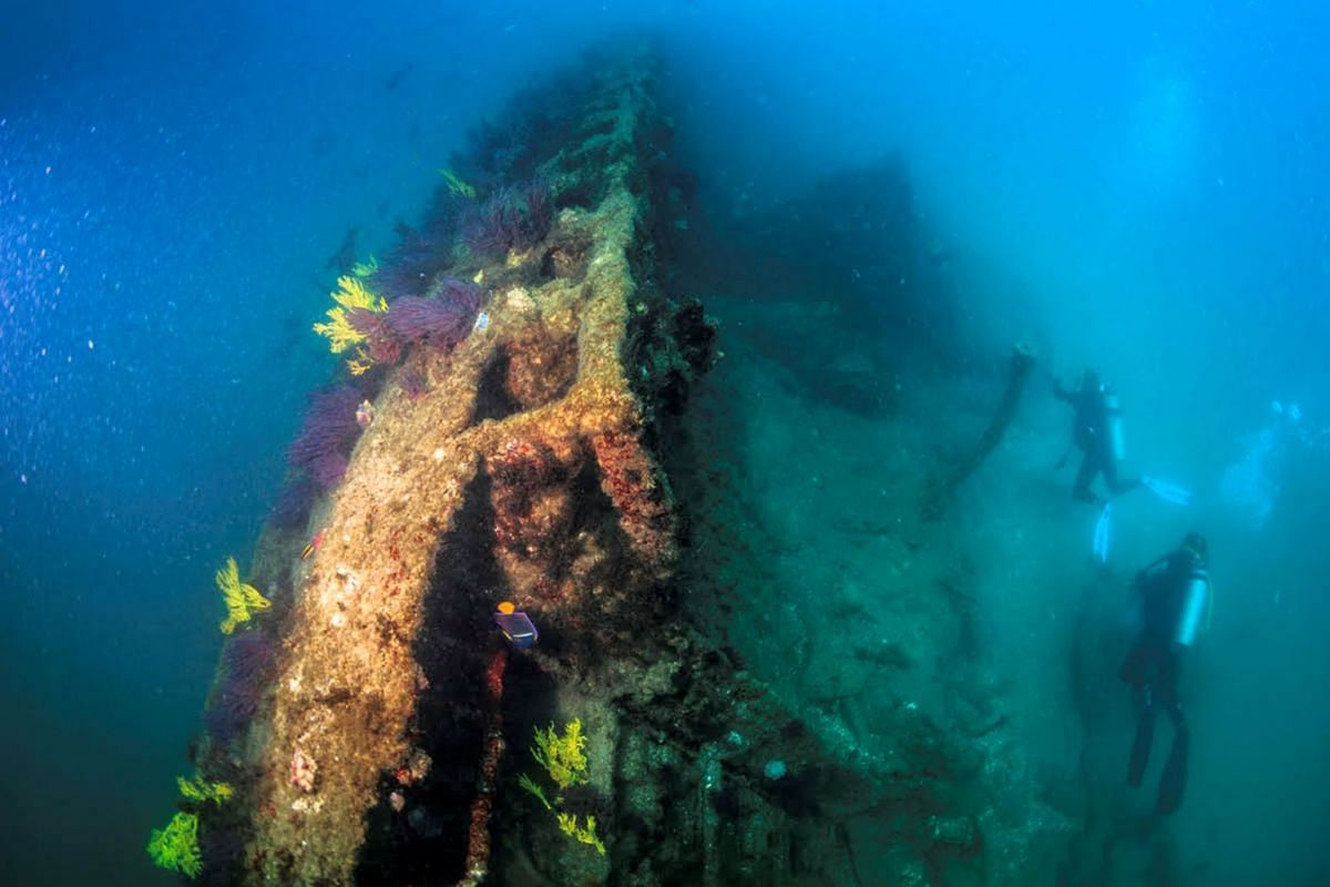 Underwater archaeologists inspect a submarine of World War One sunk in Mexican waters at Santa Margarita Island, in Baja California Sur state, Mexico, in this handout photograph released to Reuters by the National Institute of Anthropology and Histor