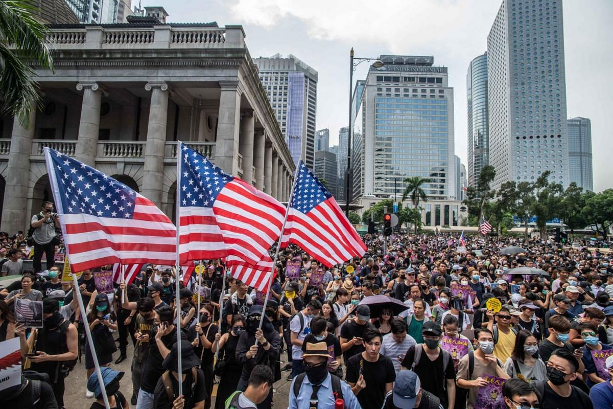 Protesters rally in the Central area before marching to the US Consulate in Hong Kong, on Sept 8, 2019.