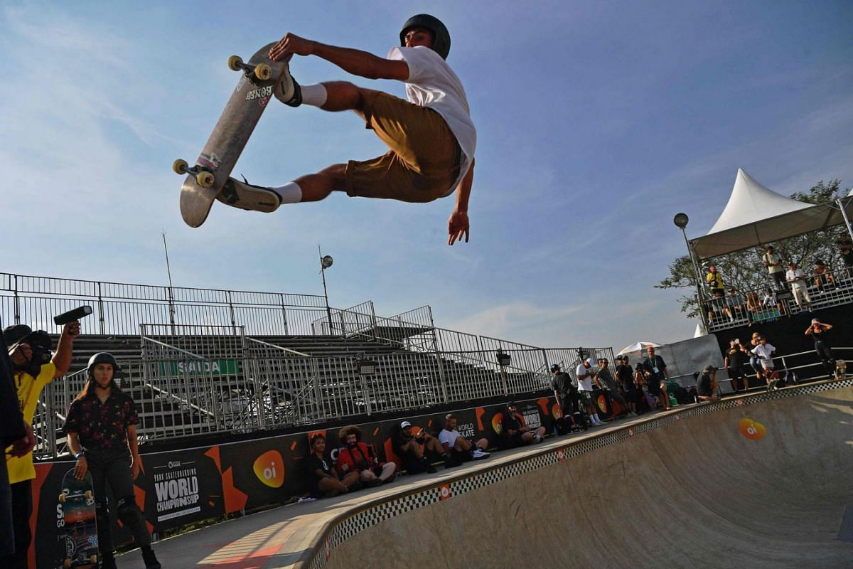 A skateboarder performs a frontside nosegrab as he takes part in the third day of practice sessions during the World Park Skateboarding Championship in Sao Paulo, Brazil, on September 11, 2019. PHOTO: AFP
