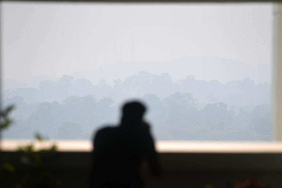 A man looks out at hazy skies in Bishan, Singapore, on Sept 12, 2019 at 3.25pm.