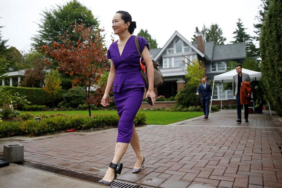 Huawei Technologies Chief Financial Officer Meng Wanzhou leaves her home to appear for a hearing at British Columbia supreme court, in Vancouver, British Columbia, Canada, on Sept 23, 2019.
