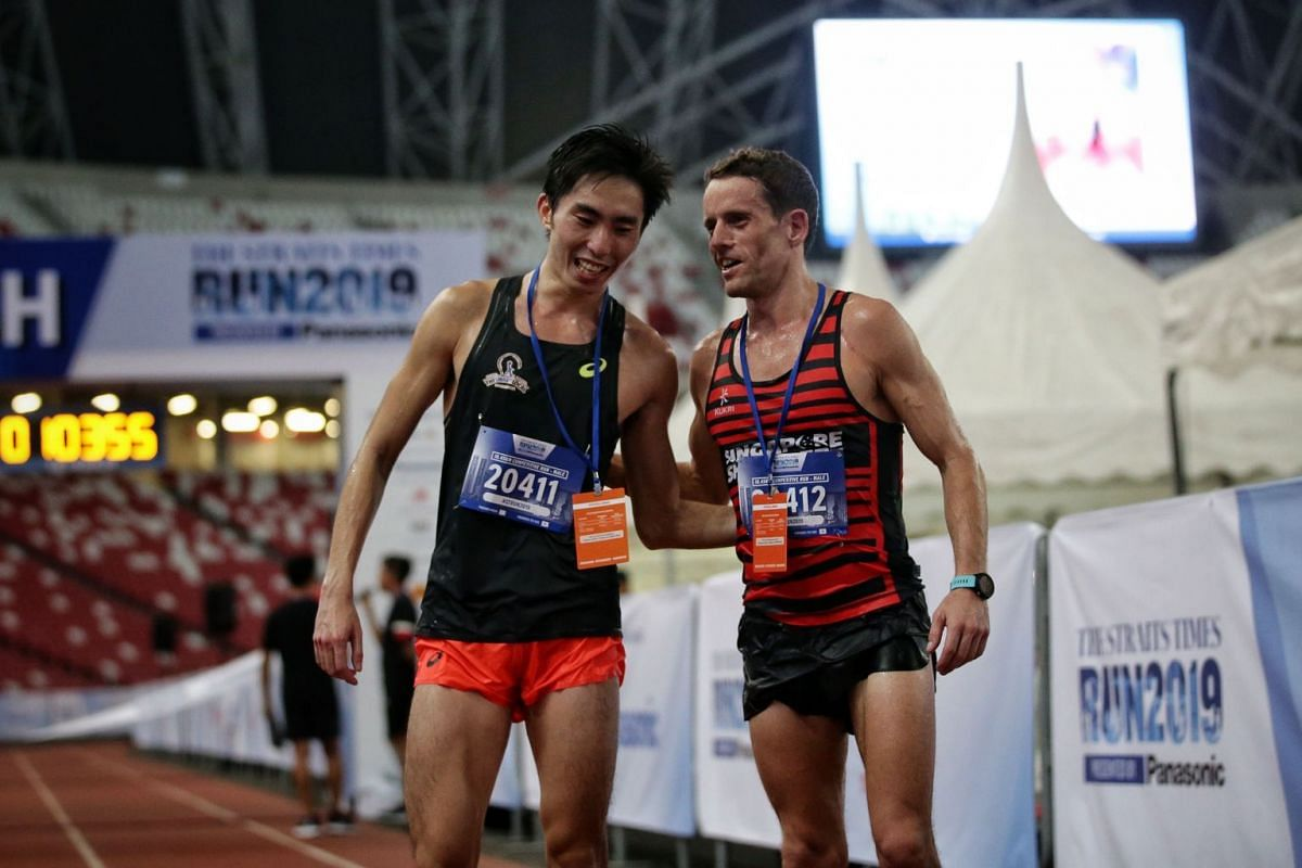 Soh Rui Yong (left) finished second behind Nick Impey in the 18.45km race.