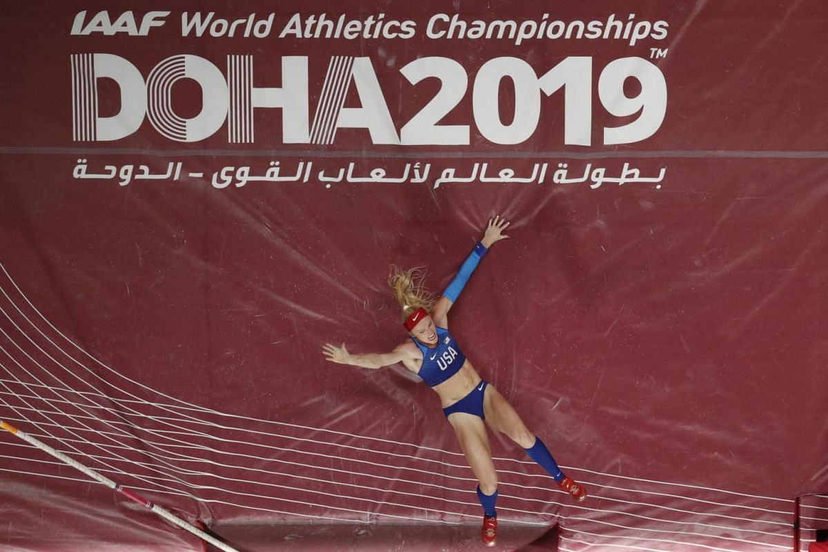 Women's Pole Vault finalist Sandi Morris of the US reacts at the World Athletics Championships at the Khalifa International Stadium in Doha, Qatar on Sept 29, 2019.