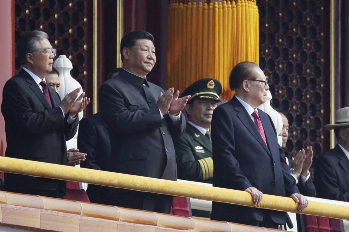 (From left) Former General Secretary of the Communist Party of China Hu Jintao, Chinese President Xi Jinping and former President Jiang Zemin, overlooking a military parade during China's 70th anniversary celebrations in Beijing, on Oct 1, 2019.