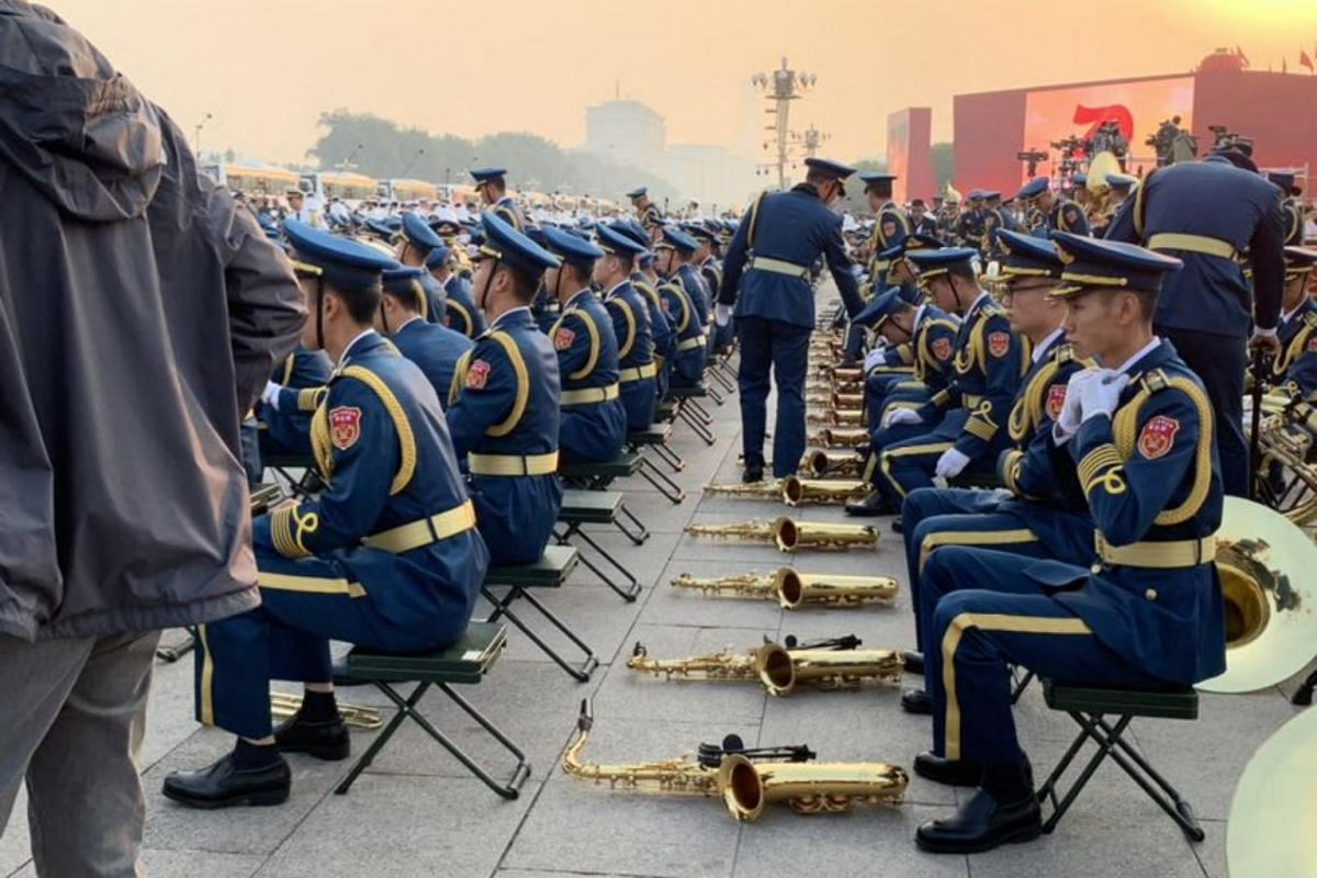 The military band forming up before the start of celebrations at Tiananmen Square.