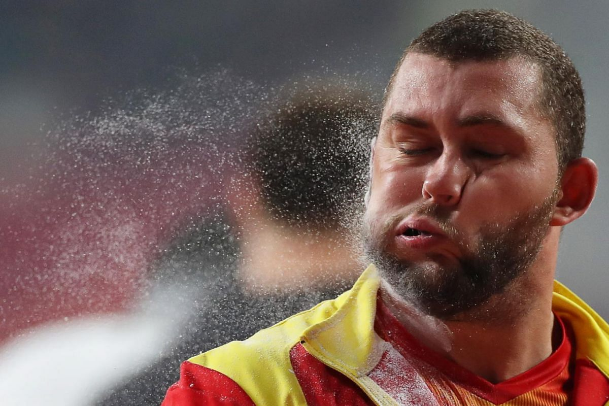 Andrei Marius Gag of Romania prepares to compete in the men's Shot Put qualification at the IAAF World Athletics Championships 2019 at the Khalifa Stadium in Doha, Qatar, on Oct 3, 2019.