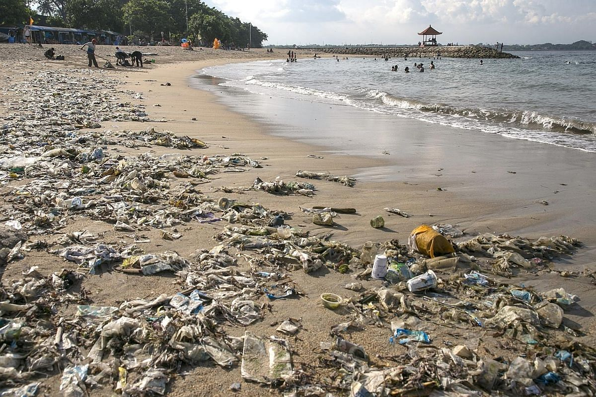 A customer using reusable bags at a supermarket in Bali, where the governor has banned single-use plastic bags. PHOTO: AGENCE FRANCE-PRESSE Ms Fitri (above, centre) at the end of a recent beach clean-up in Bali. More Indonesians are joining the clean