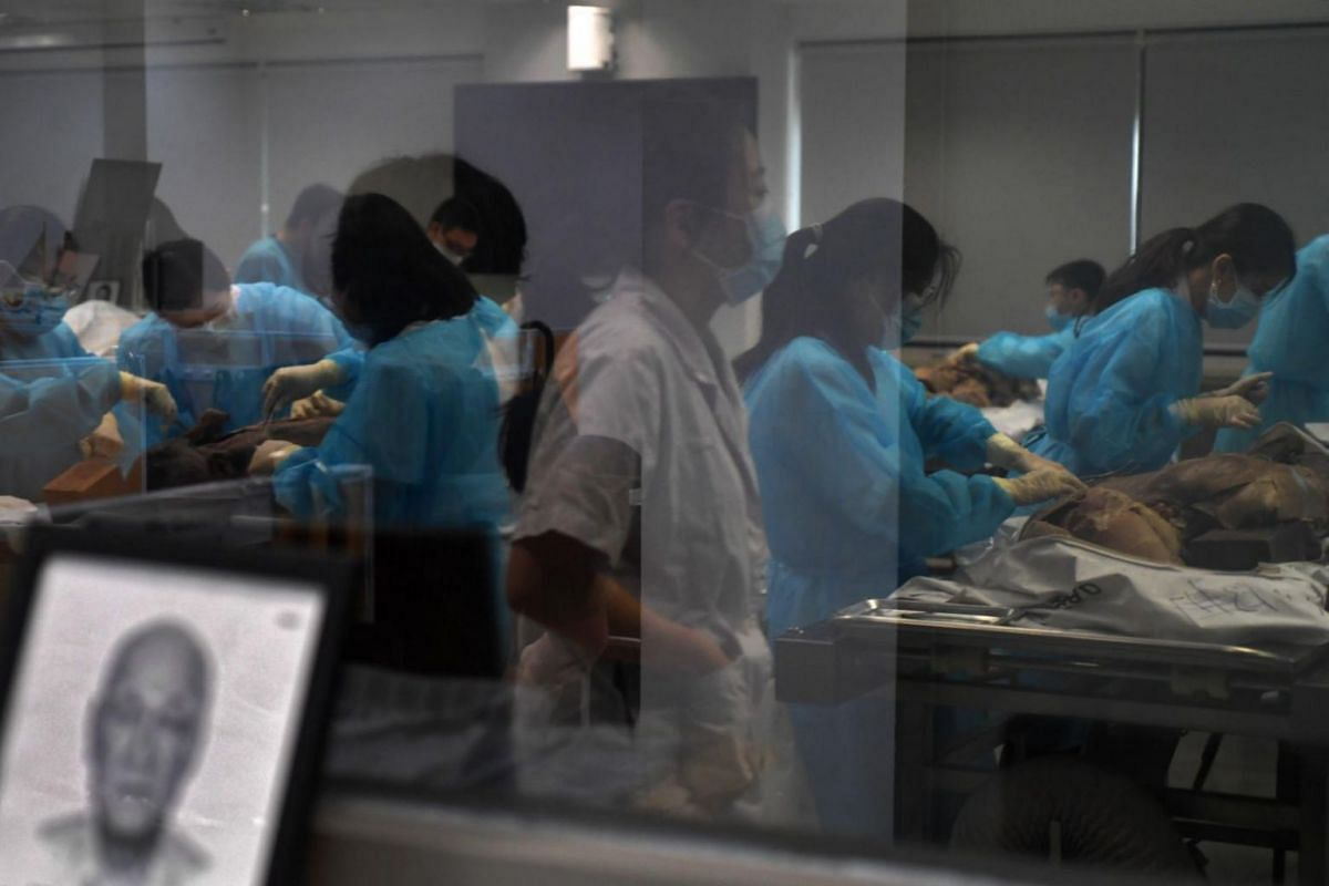 "Medical students during a suturing class at the National University of Singapore Yong Loo Lin School of Medicine, where they close the incisions on the cadavers, known respectfully as ""silent mentors"", before the bodies are cremated, on June 25, 2019"