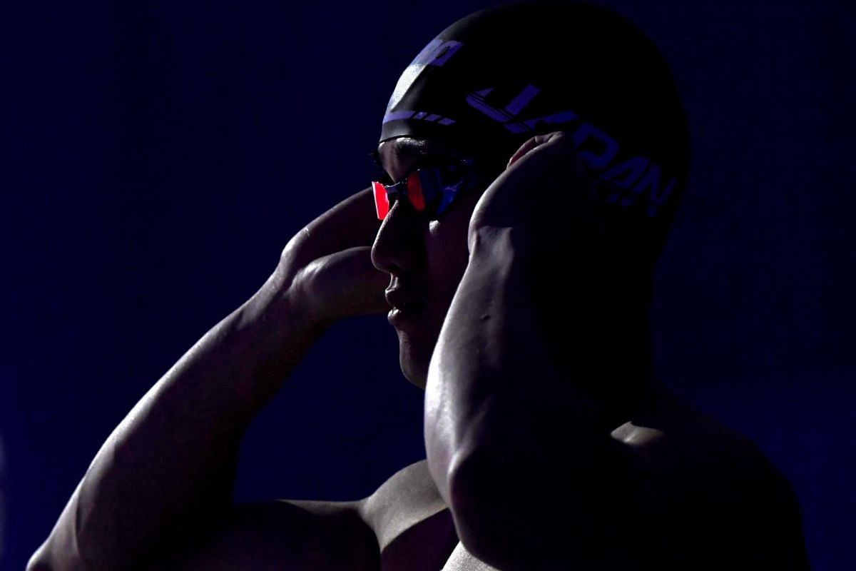 Kosuke Matsui of Japan prepares for the men's 50-metre butterfly final of the Swimming World Cup in Duna Arena in Budapest, Hungary, on Oct 6, 2019.