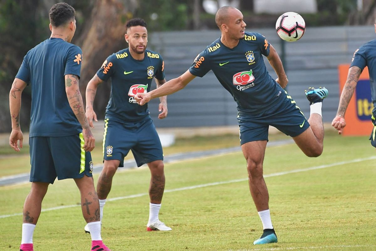 (From left) Brazilian footballers Roberto Firmino, Neymar and Fabinho training at the Kallang Football Hub on Oct 7, 2019. The five-time world champions are in town for the Brazil Global Tour. PHOTO: THE STRAITS TIMES/DESMOND WEE