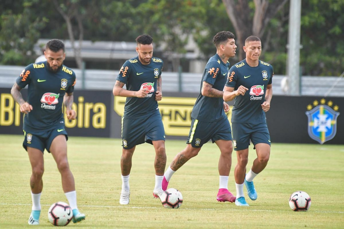The Brazil national football team is seen at their first training session in Singapore, at Kallang Football Hub, on Oct 7, 2019.