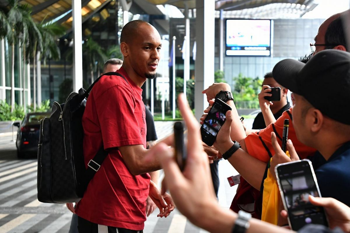 Brazil team player Fabinho interacting with fans at the JW Marriott Hotel Singapore South Beach on Oct 7, 2019.