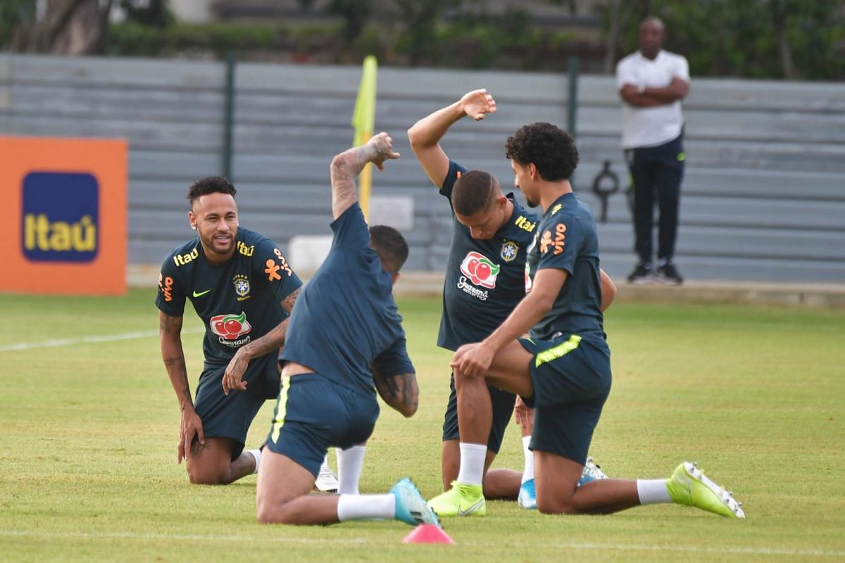 The Brazil national football team at their first training session in Singapore, at Kallang Football Hub, on Oct 7, 2019.