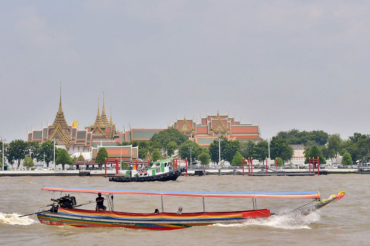 Ratchaworadit Pier, in front of the Grand Palace in Bangkok. The royal couple will alight at this pier.