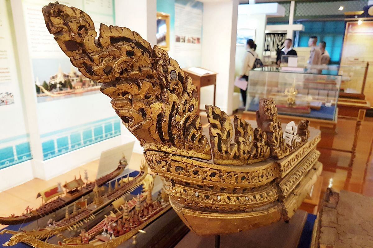 A close-up view of part of the royal barge, displayed at the Royal Thai Dockyard Museum in Bangkok.