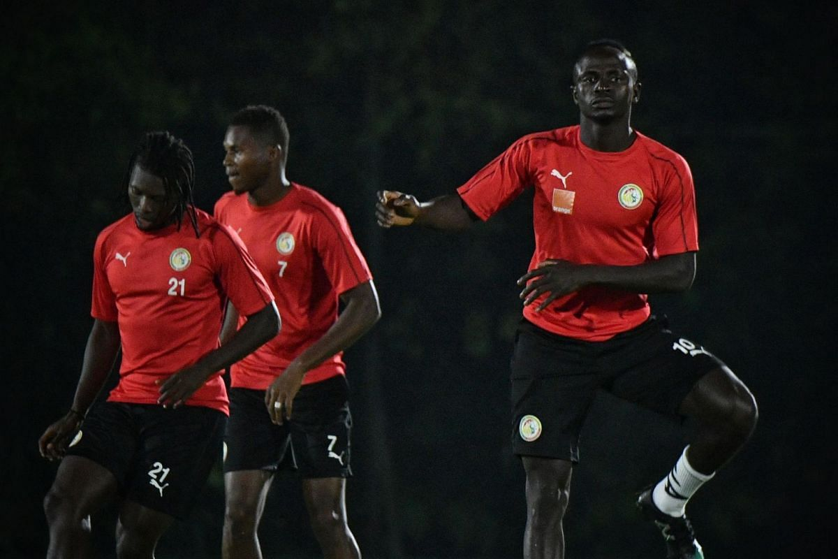 Senegal's team, with Sadio Mane in their ranks, training at Bukit Gombak Stadium on Oct 9, 2019. They will take on Copa America champions Brazil at the National Stadium today (Oct 10). PHOTO: THE STRAITS TIMES/ARIFFIN JAMAR