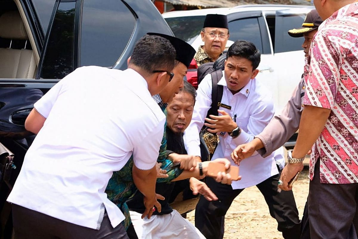 Indonesia's Chief Security Minister Wiranto is pictured being attacked during his visit to Pandeglang, Banten province, Indonesia, October 10, 2019 in this photo taken by Antara Foto. HANDOUT VIA REUTERS.
