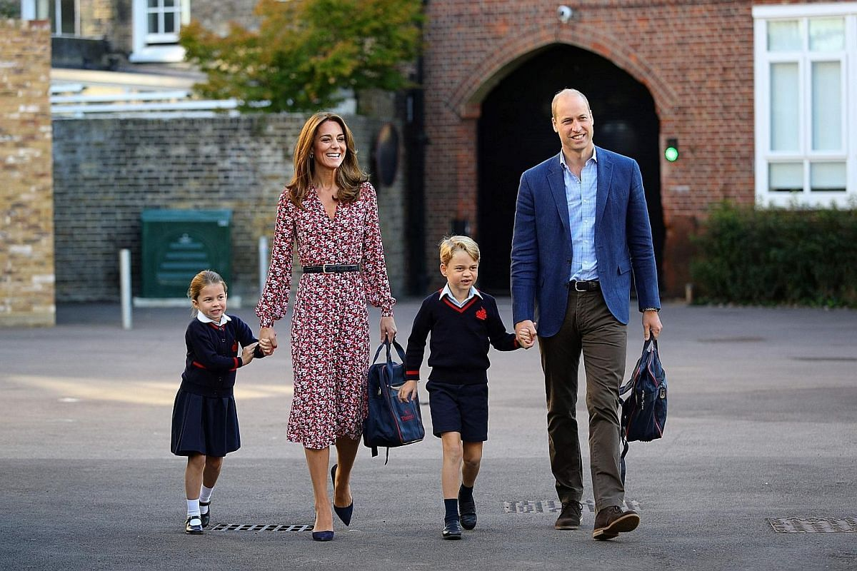 Prince William and his wife Kate taking two of their children, Princess Charlotte, four, and Prince George, six, to school. Their third child, 17-month-old Prince Louis, is not in the picture.