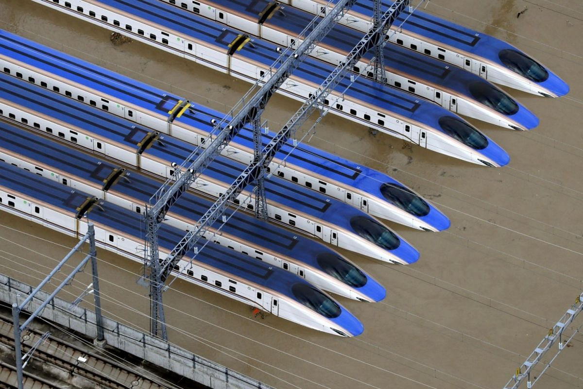 A Shinkansen bullet train yard flooded from heavy rains caused by Typhoon Hagibis in Nagano, on Oct 13, 2019.
