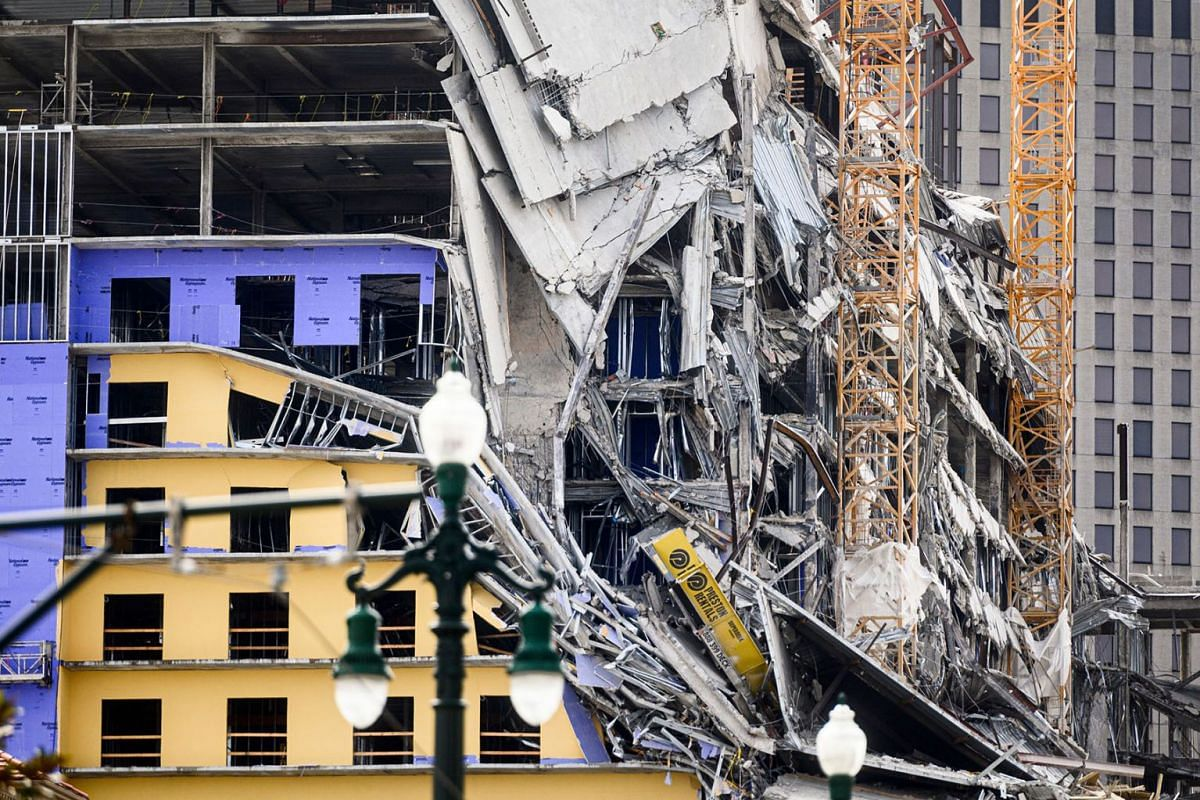 The Hard Rock Hotel partially collapsed onto Canal Street downtown New Orleans, Louisiana on October 12, 2019. One person died and at least 18 others were injured Saturday when the top floors of a New Orleans hotel that was under construction collaps