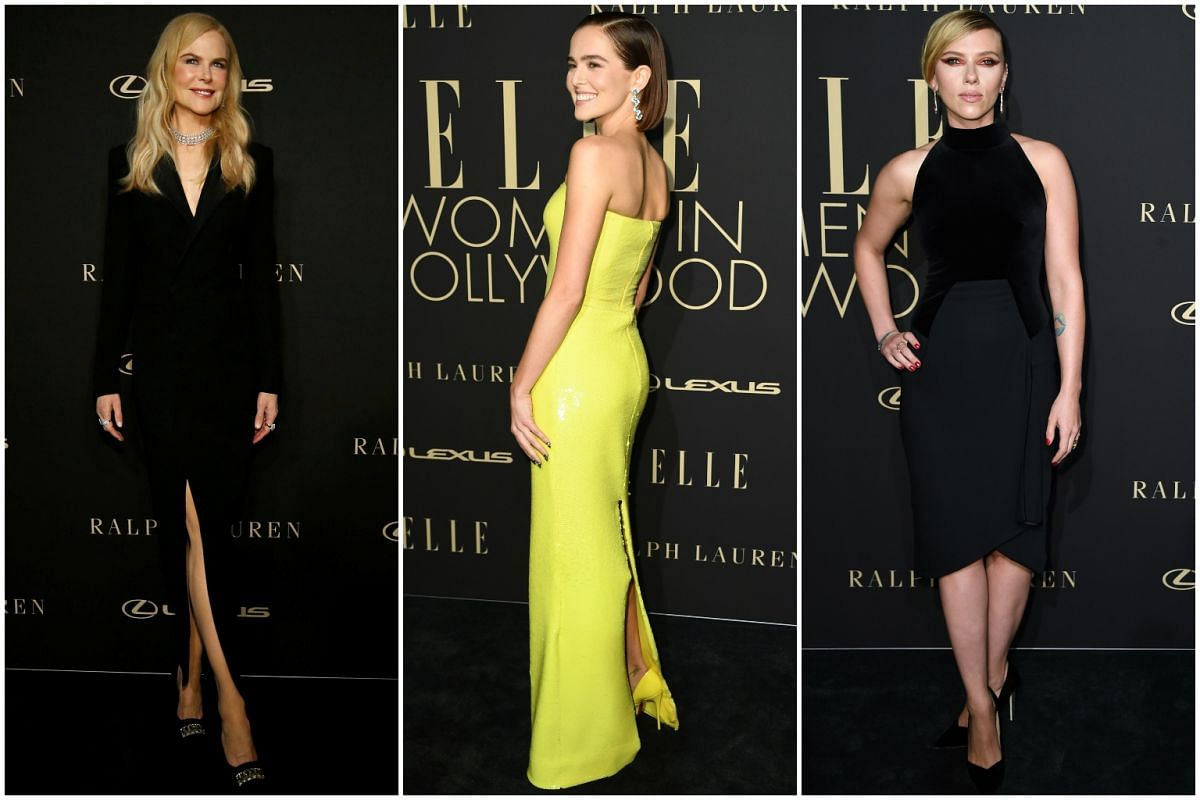 (From left) Nicole Kidman, Zoey Deutch and Scarlett Johansson arrive at the Beverly Wilshire Four Seasons Hotel for the 26th annual Elle Women in Hollywood Celebration in Beverly Hills, California, on Oct 14, 2019.