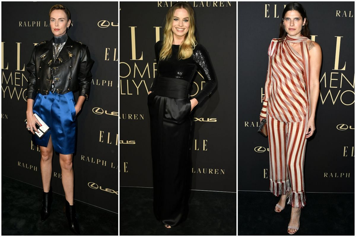 (From left) Charlize Theron, Margot Robbie and Lake Bell on the red carpet of the 26th annual Elle Women in Hollywood Celebration on Oct 14, 2019.