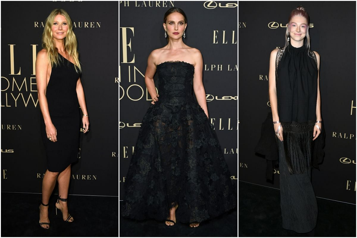 (From left) Gwyneth Paltrow, Natalie Portman and Hunter Schafer attend the 26th annual Elle Women in Hollywood Celebration on Oct 14, 2019.