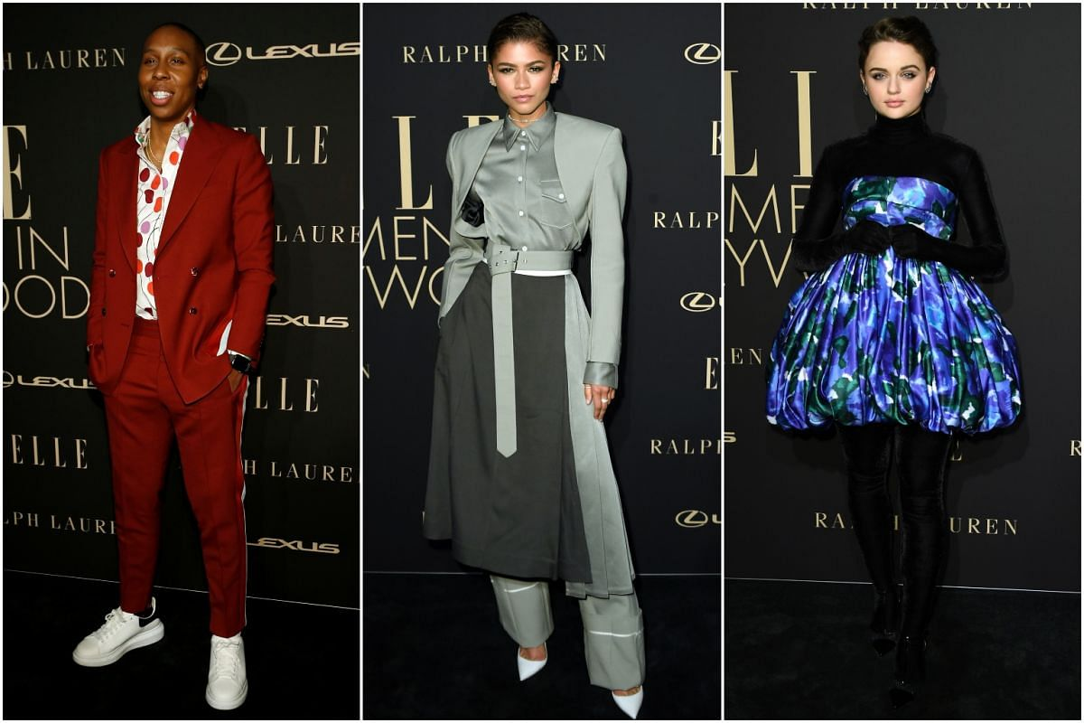 (From left) Lena Waithe, Zendaya and Joey King arrive for the 26th annual Elle Women in Hollywood Celebration on Oct 14, 2019.