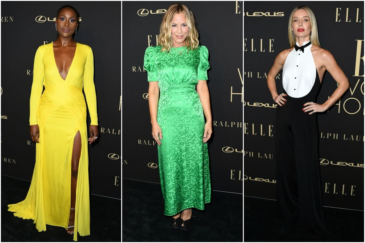 (From left) Issa Rae, Maria Bello and Annabelle Wallis arrive for the 26th annual Elle Women in Hollywood Celebration on Oct 14, 2019.