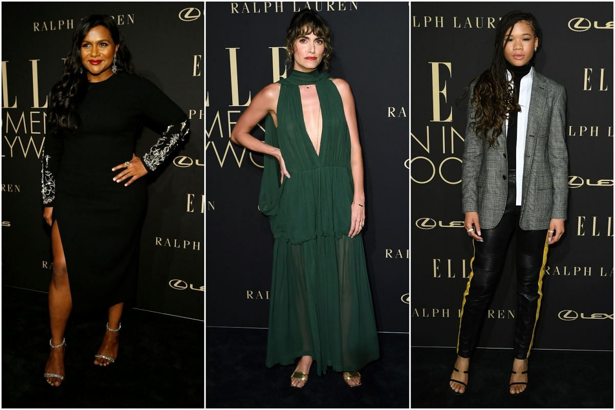 (From left) Mindy Kaling, Nikki Reed and Storm Reid make an appearance at the Elle Women in Hollywood Celebration on Oct 14, 2019.