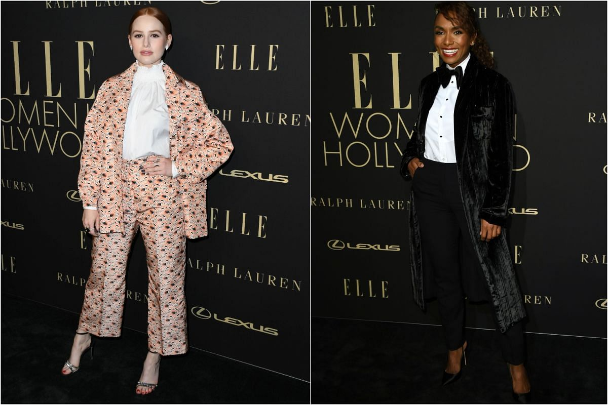 Madelaine Petsch (left) and Janet Mock on the red carpet of the 26th annual Elle Women in Hollywood Celebration on Oct 14, 2019.