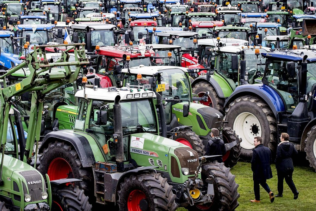 Farmers with their tractors take part in a demonstration against the nitrogen policy rules called by the Agriculture and Horticulture Organization (LTO) The Netherlands, at the Malieveld in The Hague, on October 16, 2019. PHOTO: ANP VIA AFP
