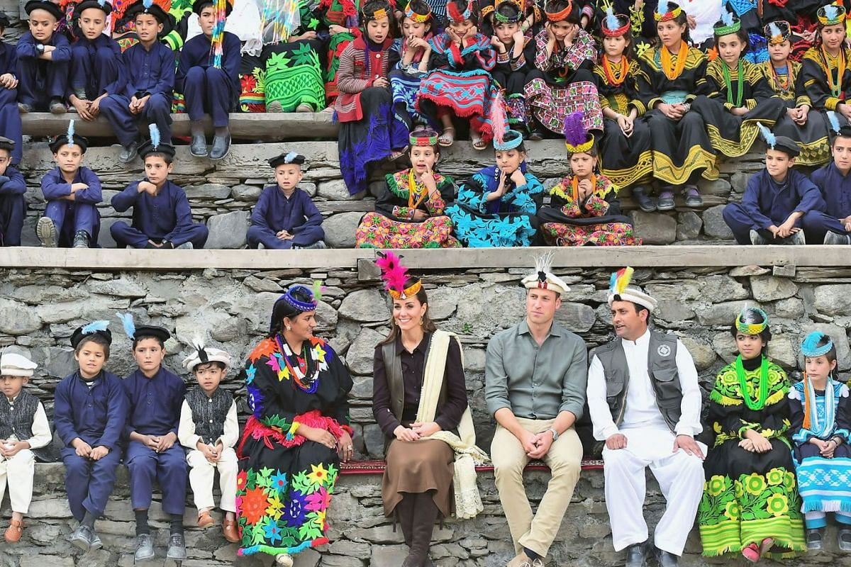 Britain's Prince William and Catherine, Duchess of Cambridge visit a settlement of the Kalash people in Chitral, Pakistan, October 16, 2019. PHOTO: REUTERS