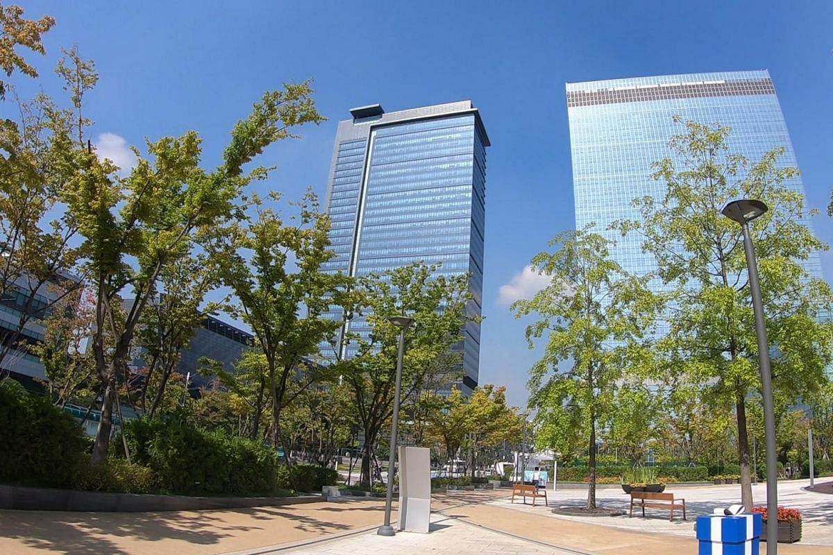 Office towers in the Samsung Digital City. At the buildings' entry points, employees are subject to stringent security checks to ensure that sensitive information on commercial and technological developments are well-protected.