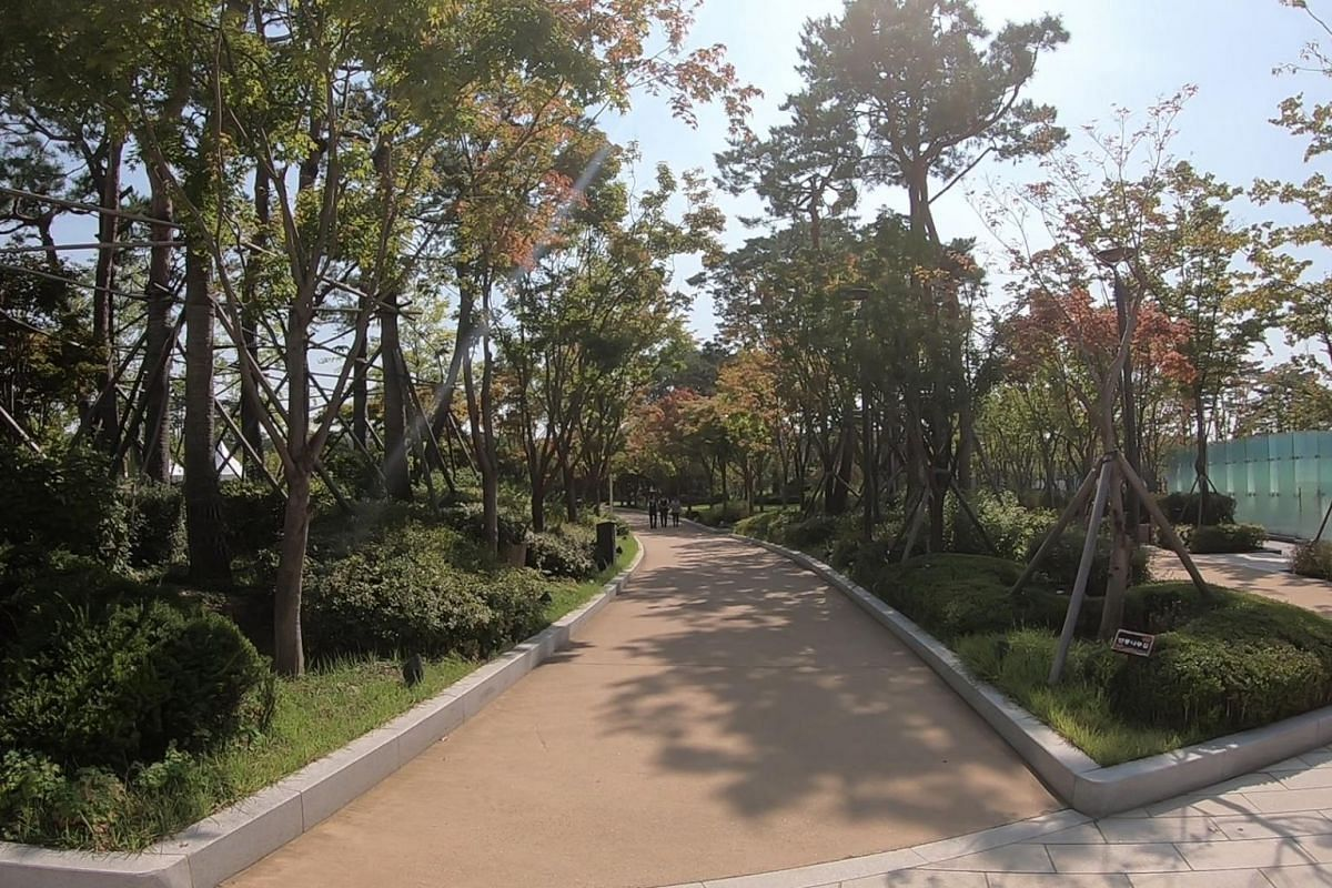 The Digital City's Central Park, where employees can go for some fresh air. Lush greenery lined the footpaths of this enclave, making it a pleasant place for those looking to take a break from the office setting.