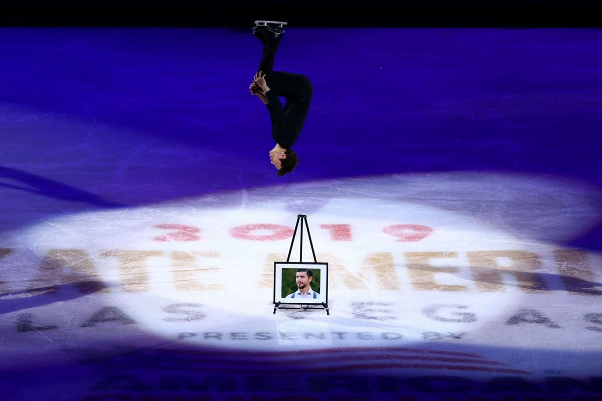 Keegan Messing (CAN) pays tribute to his 26-year-old brother, Paxon Messing, who died in a motorcycle accident, during his performance during the Skate America exhibition program at Orleans Arena on Oct 20, 2019 in Las Vegas, NV, USA. PHOTO: USA TODA