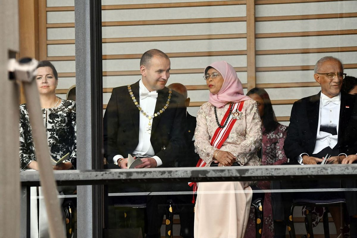 (From left) Eliza Jean Reid, wife of the President of Iceland, Guoni Thorlacius Johannesson; President of Iceland, Guoni Thorlacius Johannesson; President Halimah Yacob and the President's husband Mohammed Abdullah Alhabshee attending the enthronemen